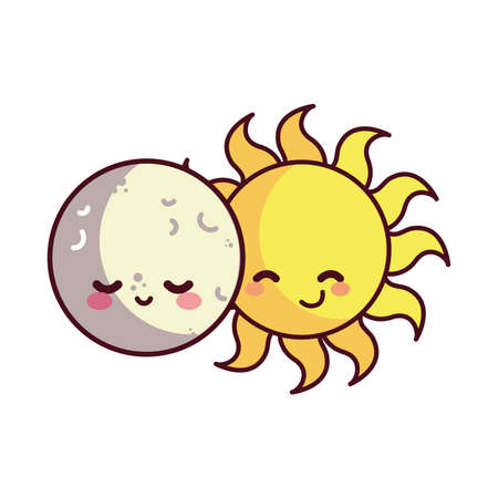 moon and sun happy accompanied vector illustration desings