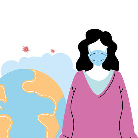 young woman with mask to prevent pandemic vector illustration design 일러스트