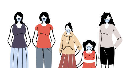 people in protective medical face masks, women wearing protection from coronavirus vector illustration design