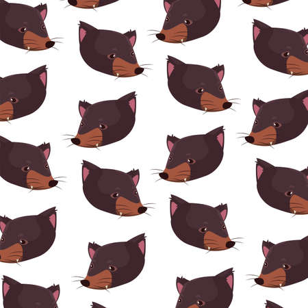 pattern head of tasmanian devil on white background vector illustration design