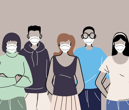 group of people in protective medical face masks, woman and man wearing protection from coronavirus vector illustration design Ilustração