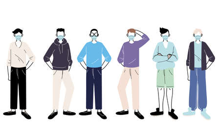 young men with medical mask standing on white background vector illustration design