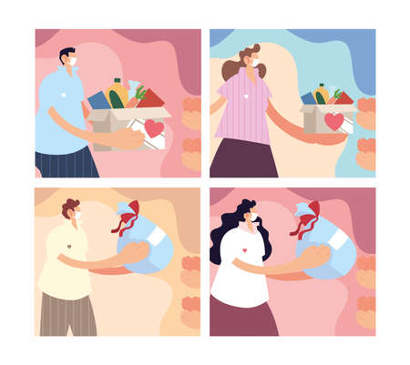 set of cards with people give charity donation vector illustration design