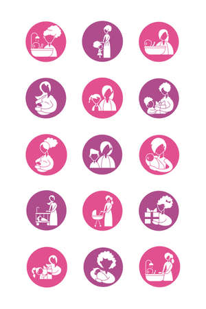 set of icons with mother and baby, silhouette style icon vector illustration design