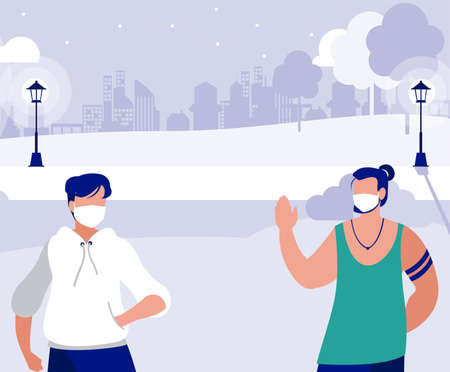 Men with masks outside at park design of Covid 19 virus theme Vector illustration Çizim