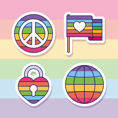 lgtbi love peace flag padlock and global sphere design, sexual orientation and identity theme Vector illustration