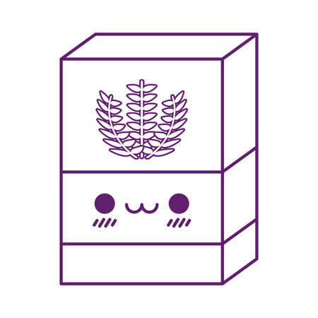 flour box cartoon line style icon design, Kawaii food cute expression character funny and emoticon theme Vector illustration