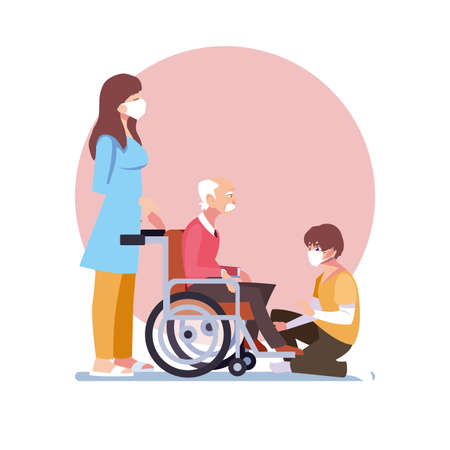 young people take care of old man in wheelchair vector illustration design
