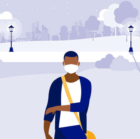 Man with mask outside at park design of Covid 19 virus theme Vector illustration