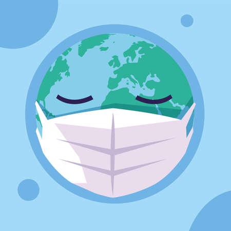 planet earth with medical mask, global pandemic vector illustration design