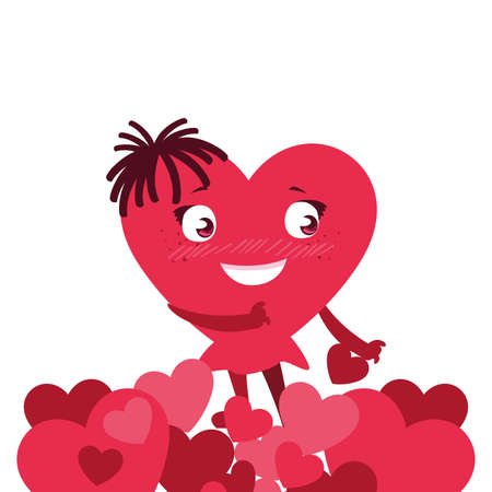 heart red with hands, card valentines day vector illustration design