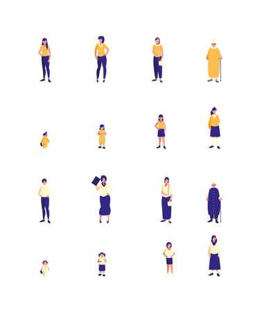 Women people avatars set design of Person social communication human user partnership member and figure theme Vector illustration Vettoriali