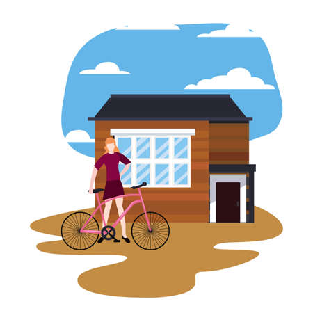 man with bicycle in front of the house vector illustration