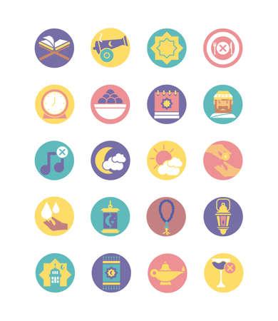 ramadan icons set over white background, block style, vector illustration