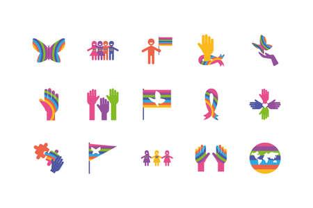 Icon set of zero discrimination day, flat style icons vector illustration design 일러스트