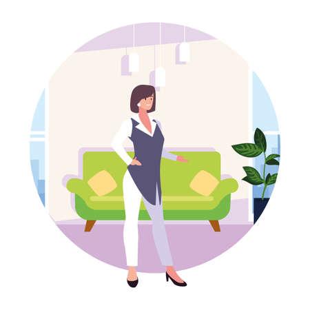 businesswoman in the living room on white background vector illustration design