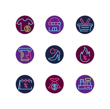 Neon icon set design of Shopping commerce market store shop retail buy paying banking and consumerism theme Vector illustration