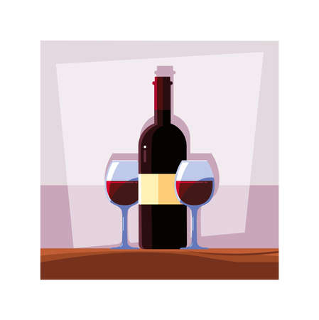 bottle and glass of wine on table vector illustration design