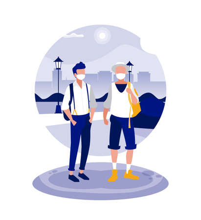 Men with masks at park in front of city buildings design of Covid 19 virus theme Vector illustration