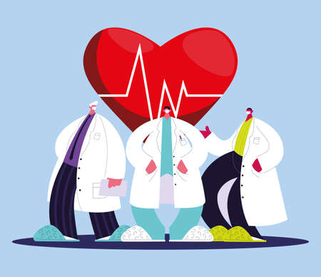 Cardiologists in medical uniform with masks and gowns vector illustration design