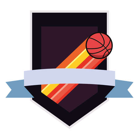 flying basketball sport ball emblem vector illustration