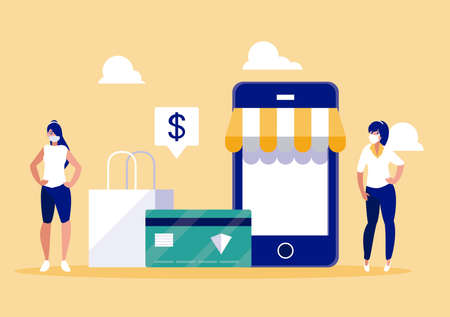 Women with masks and smartphone design of Mobile shopping online ecommerce and covid 19 virus theme Vector illustration