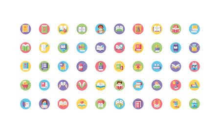 book day icon set over white background, block style, vector illustration