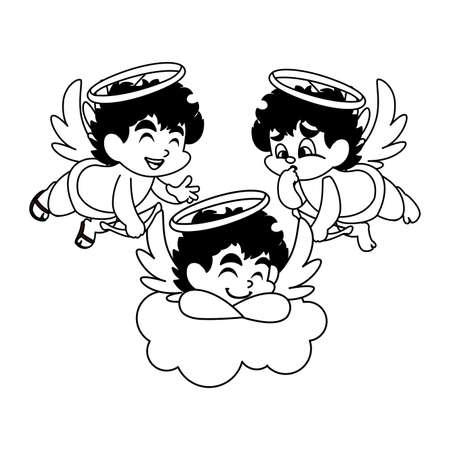 cute cupid angels in different poses on white background vector illustration design 일러스트