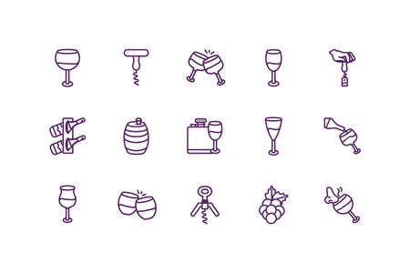 Wine icon set design of Winery alcohol drink beverage restaurant celebration and party theme Vector illustration