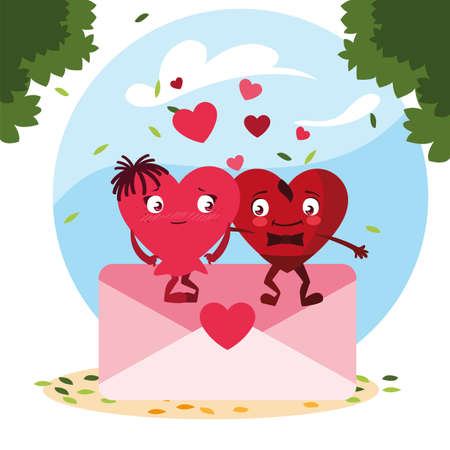 two happy hearts red with envelope,, valentines day card vector illustration design