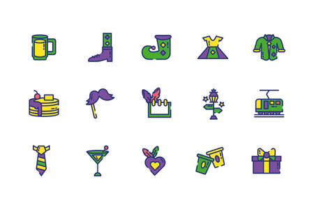 Mardi gras icon set design, Party carnival decoration celebration festival holiday fun new orleans and traditional theme Vector illustration 向量圖像