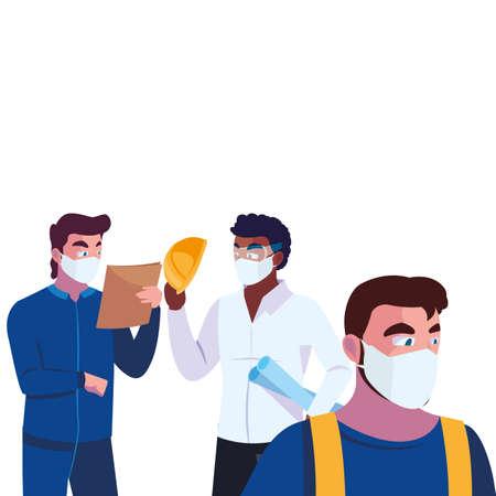 male engineers wearing face masks vector illustration design Ilustração