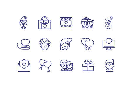 Icon set design of Love valentines day wedding passion romantic decoration and marriage theme Vector illustration 向量圖像