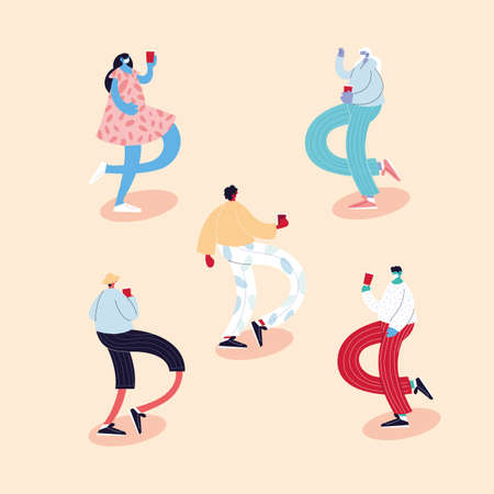 set of people dancing different poses using face masks vector illustration design Vettoriali