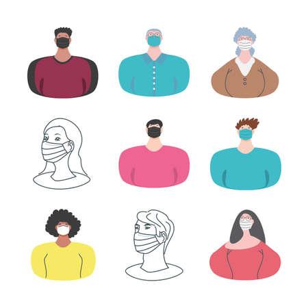 set icons of people wearing medical mask on white background vector illustration design Ilustração