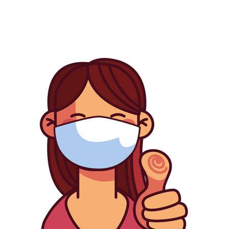 Cartoon girl with mask and holding thumb up vector illustration design Ilustração