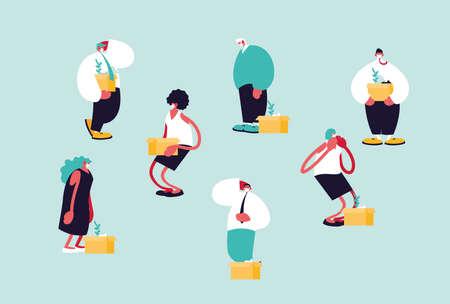 people jobless by coronavirus, unemployment vector illustration design
