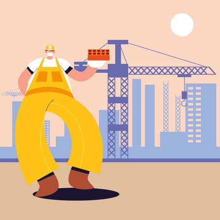 technician man with face mask, safety and prevention vector illustration design
