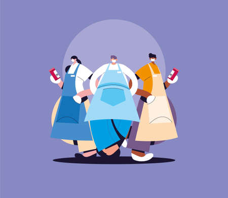 group of waiters with face mask and uniform vector illustration design Vectores
