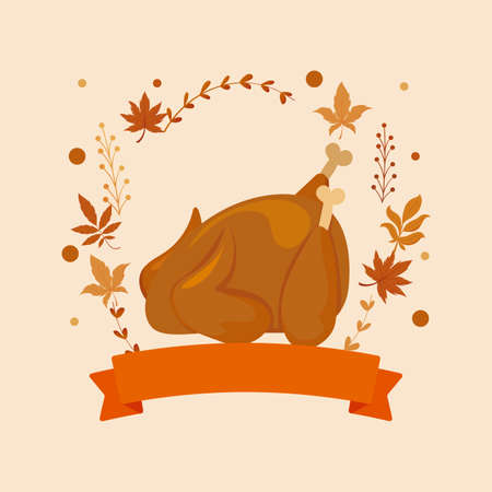 Chicken and leaves of thanksgiving day design, Autumn season holiday greeting and traditional theme Vector illustration