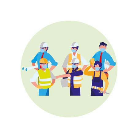Industrial workers working with face mask vector illustration design Ilustração