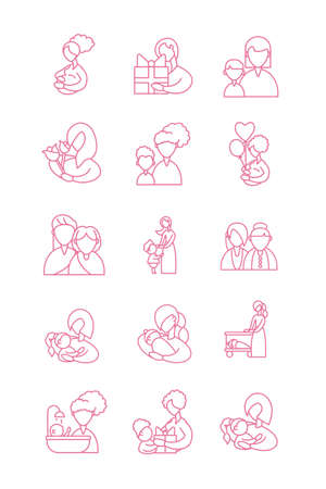 set of icons with mother and baby, line style icon vector illustration design