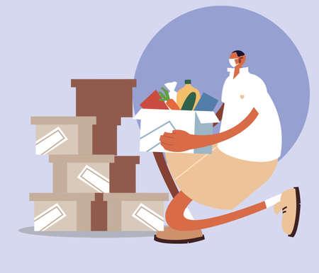 delivery man delivering order to customer vector illustration design