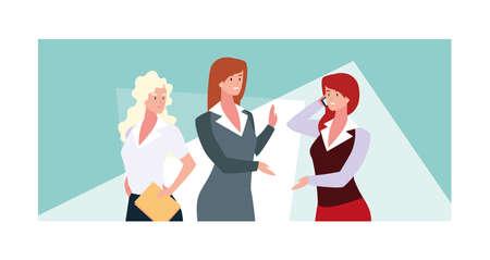 businesswomen in the work office, business professional women vector illustration design Vectores