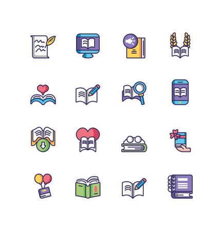 books icon set over white background, line and fill style, vector illustration