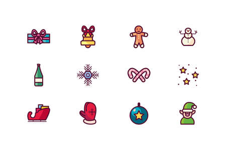 Icon set design, Merry chritmas winter season decoration card invitation celebration and holiday theme Vector illustration