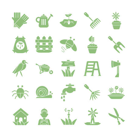 flowers and gardening icons set over white background, silhouette style icon, vector illustration
