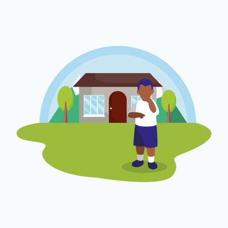 Avatar boy in front of a house design, Kid childhood little people lifestyle casual person cheerful and cute theme Vector illustration