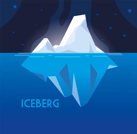 full big iceberg floating in in the sea vector illustration design