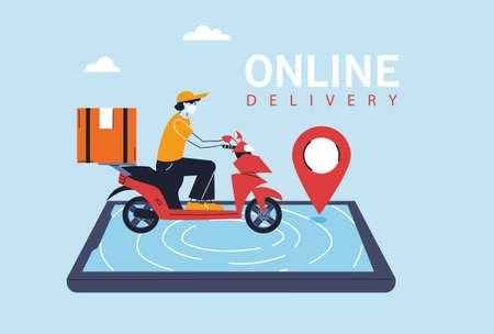 delivery man with protective face mask in motorcycle, app of smartphone vector illustration design